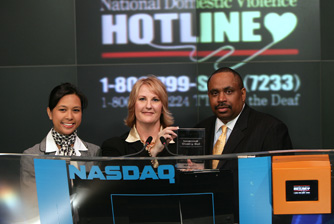 CEO Sheryl Cates rings the NASDAQ Stock Market Closing Bell